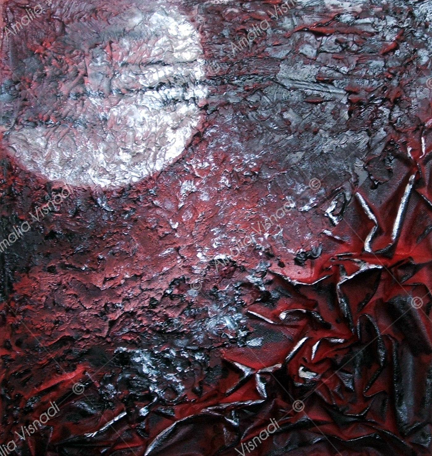 Am...plesso_Acrilico materico e tessuto su tavola 40 x 40