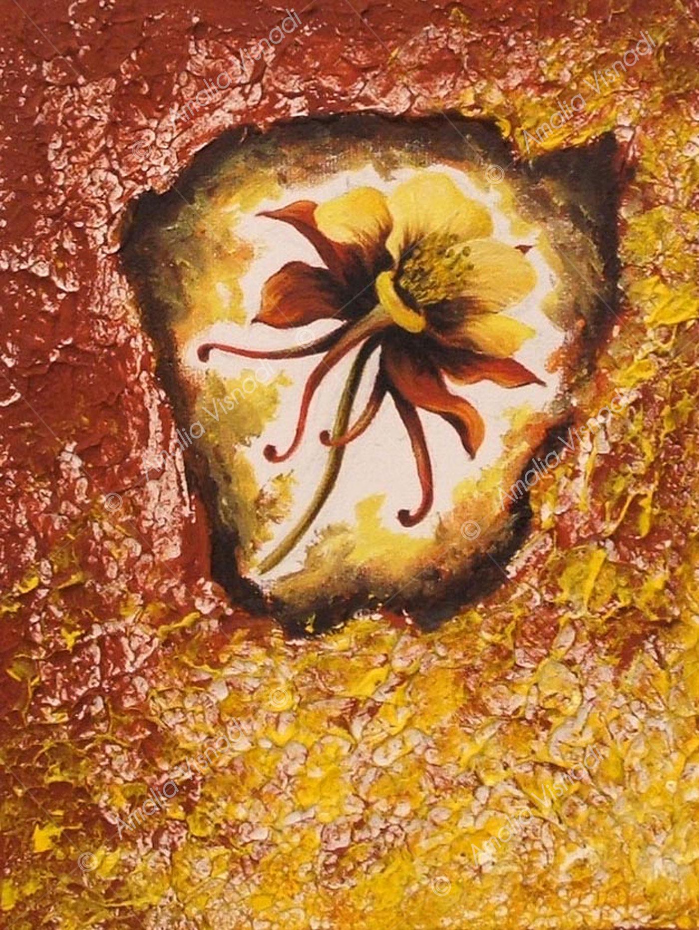Aquilegia_Acrilico e olio su tela 18 x 24