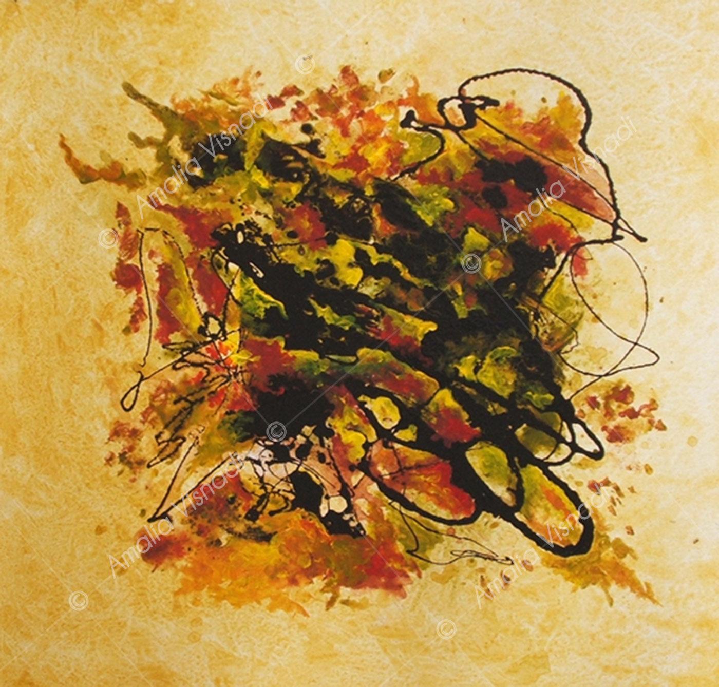 Colori d'Autunno_Acrilico e bitume su tela 30 x 30