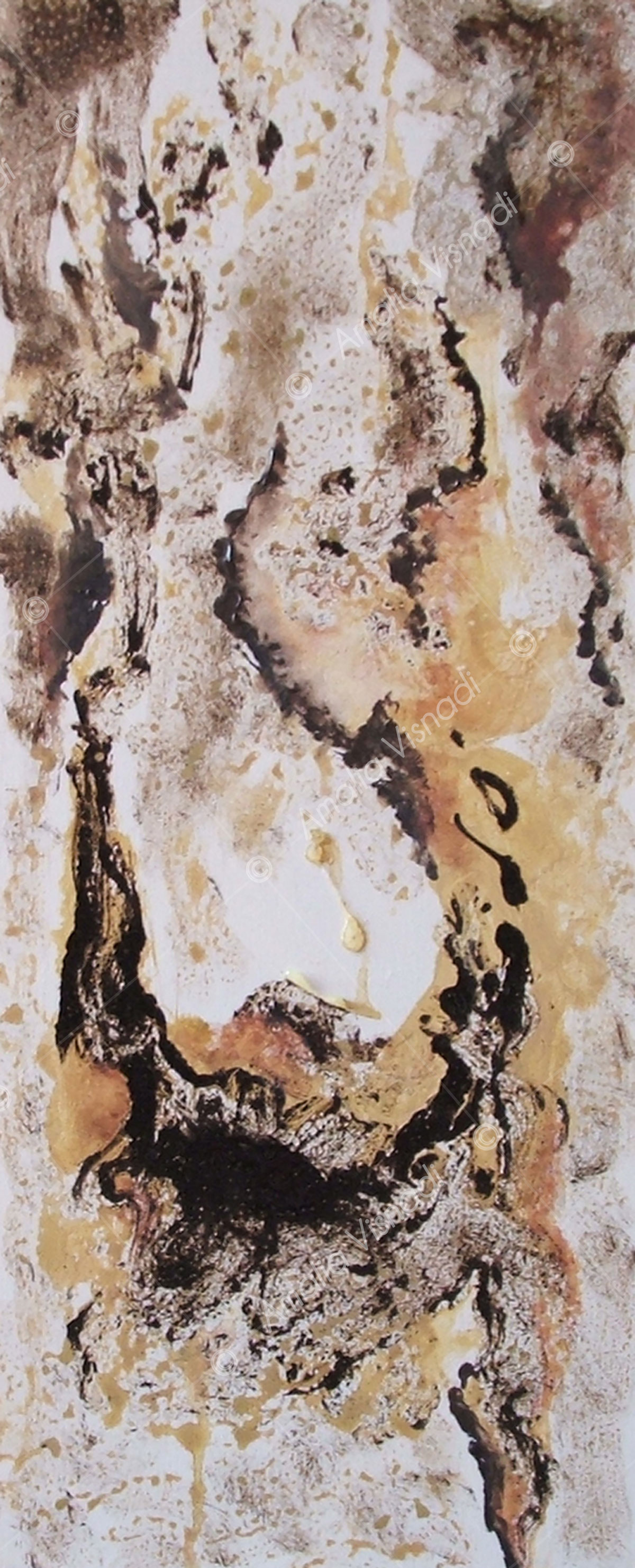 Effetti_Acrilico e bitume su tela 20 x 60
