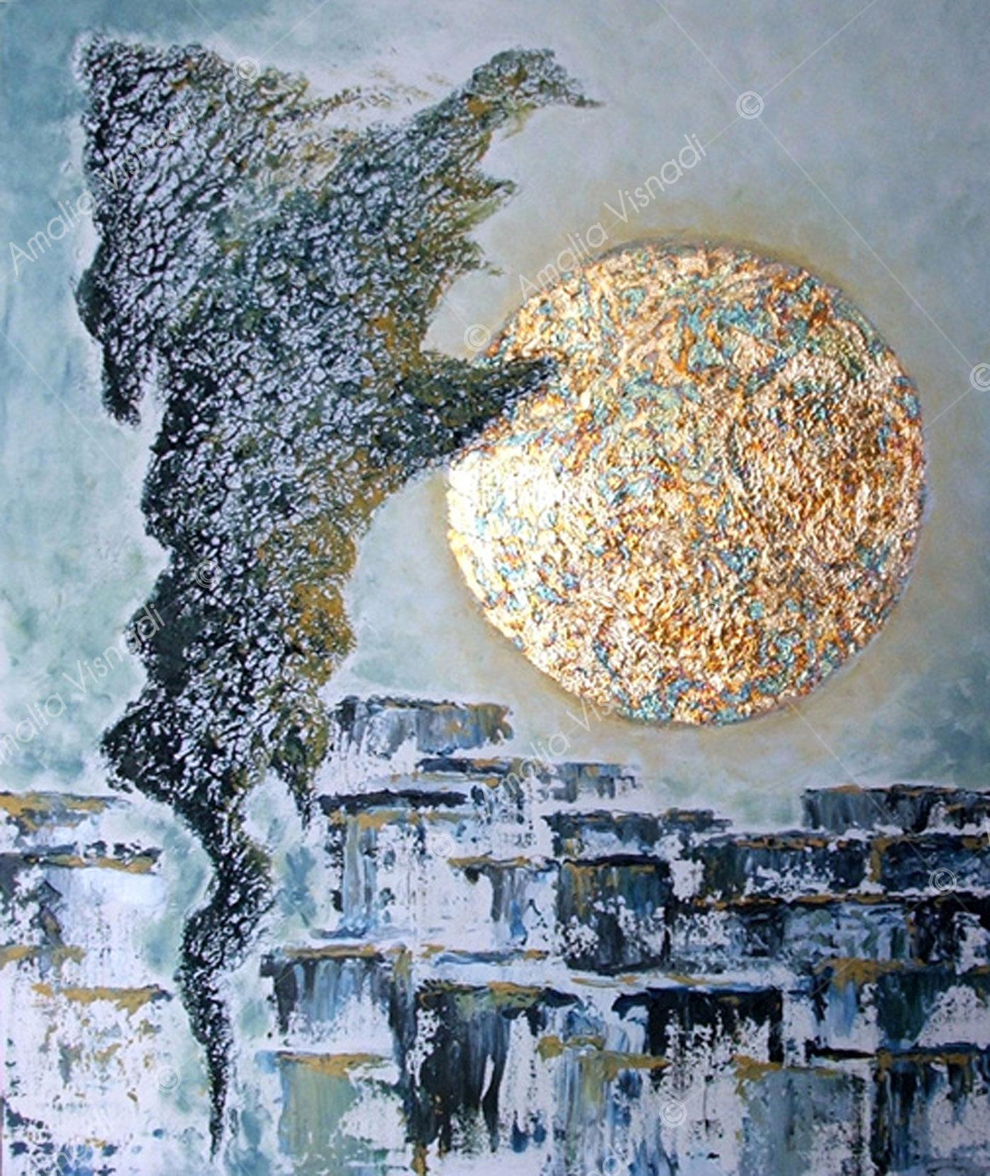 Energie sulla città_Acrilico e foglia oro su tela 50 x 60