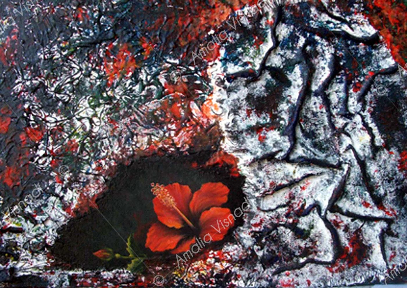 Hibiscus_Acrilico e olio su tela 50 x 70