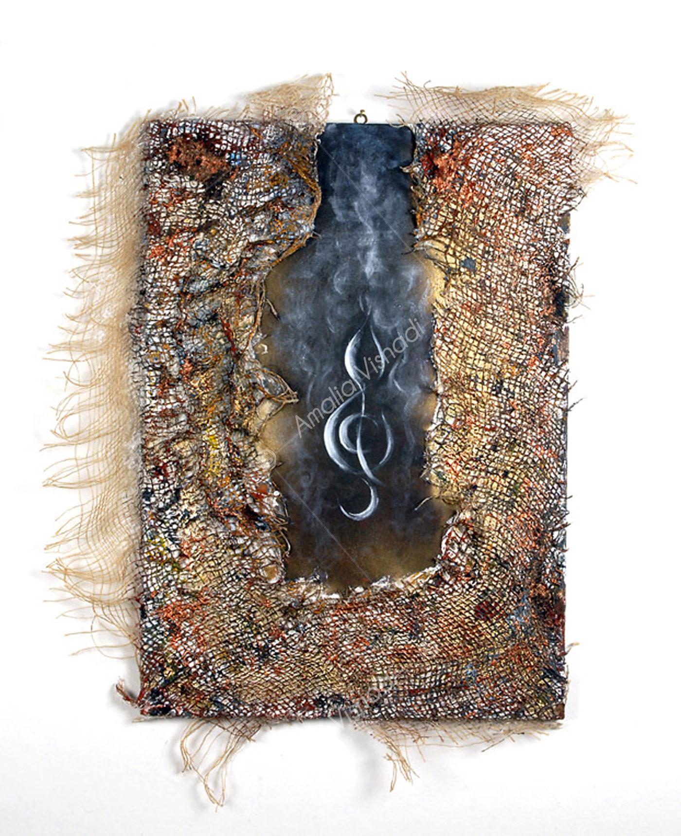 Il colore del Suono_Acrilico, rete e olio su tela 50 x 70