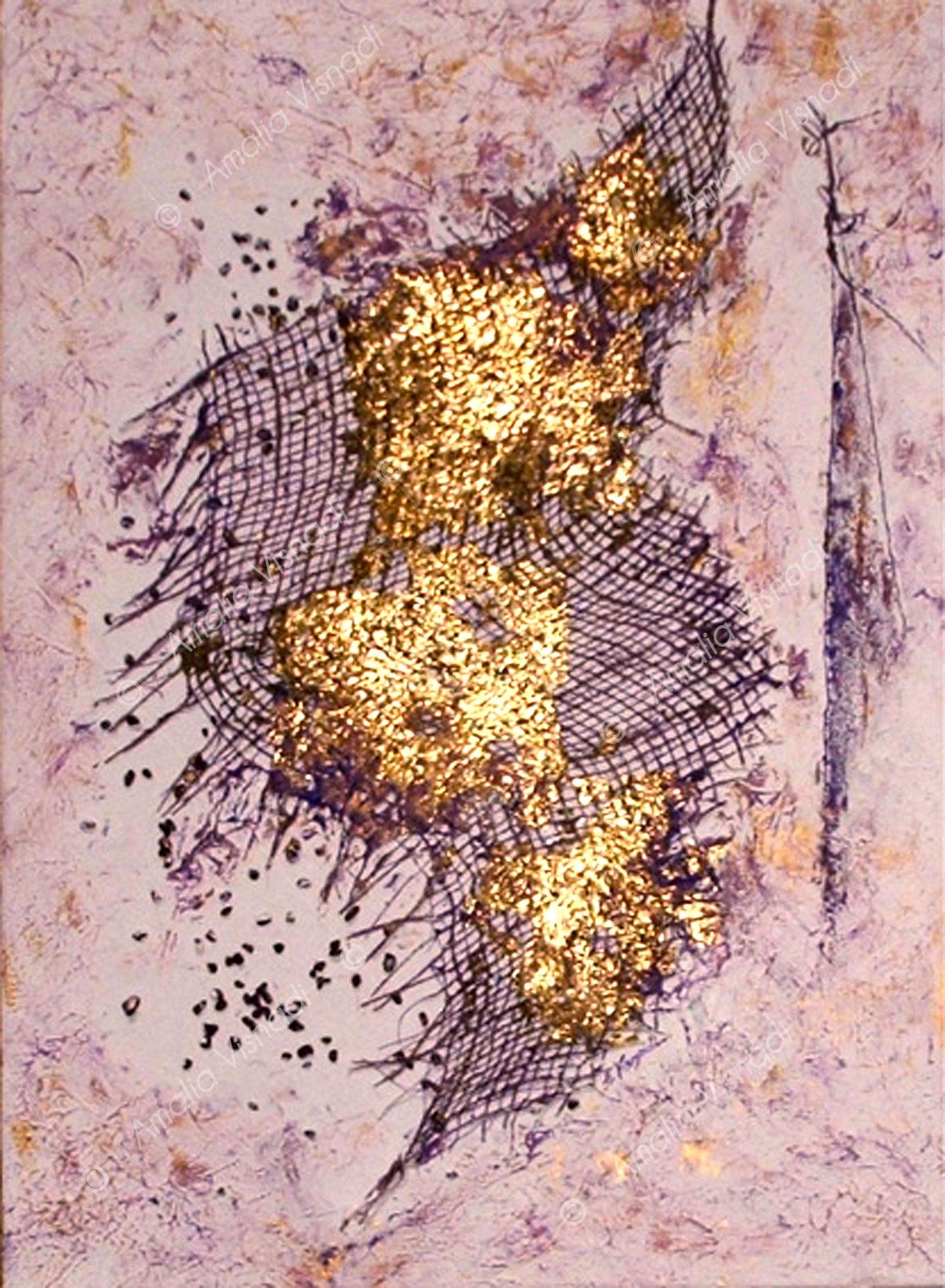 L'araba fenice_Acrilico foglia oro su tela 50 x 70