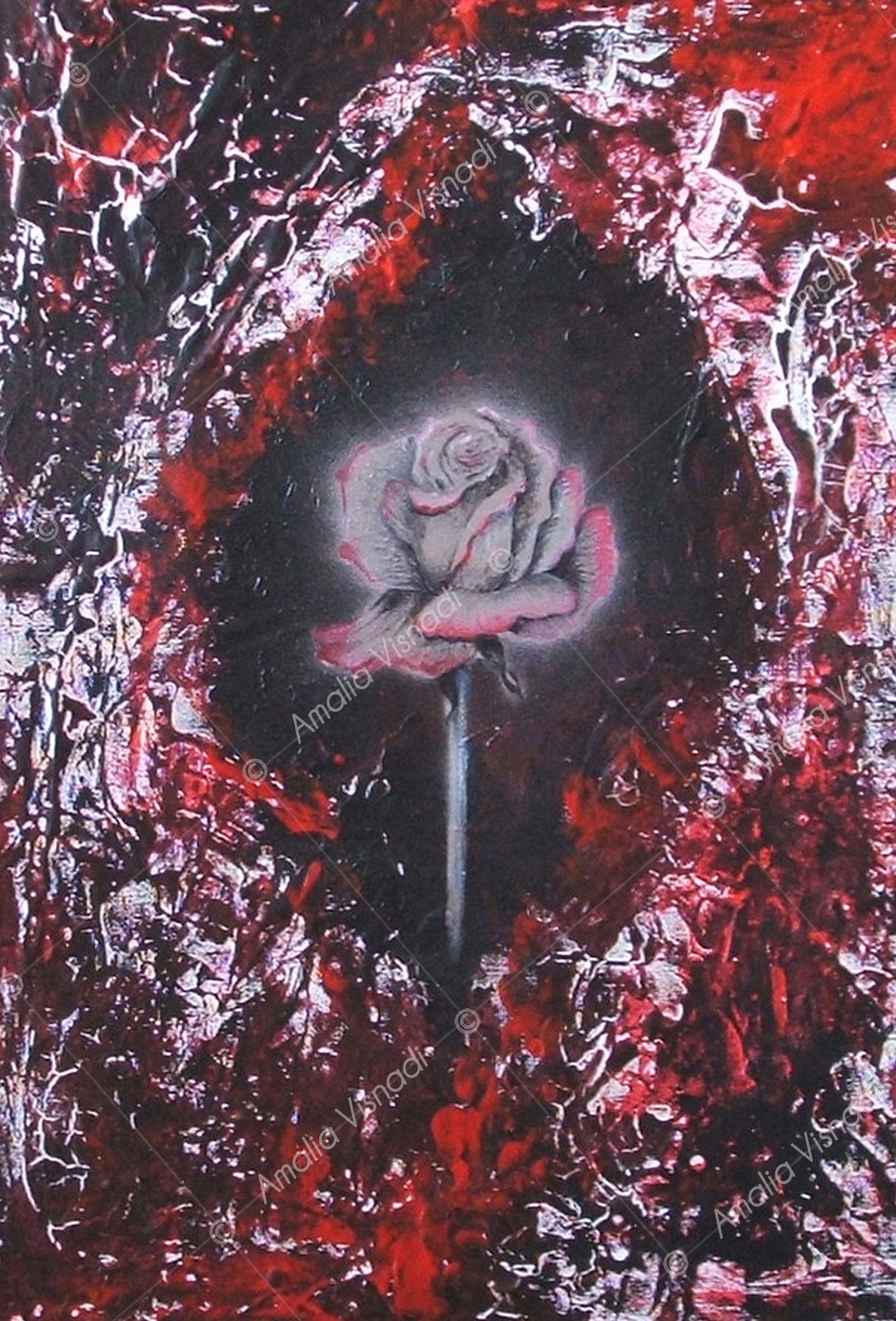 La rosa d'acciaio_Acrilico e olio su tela 35 x 50
