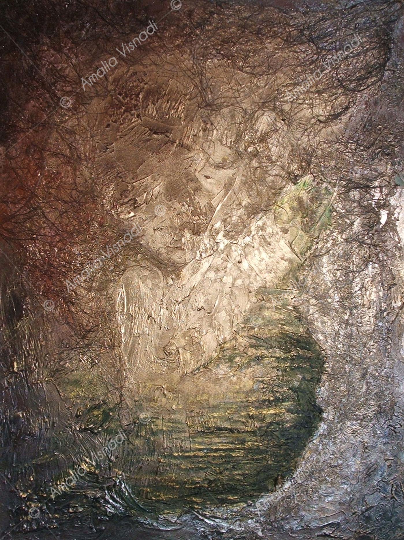 Rinascita_Acrilico materico e garze su tavola 60 x 80