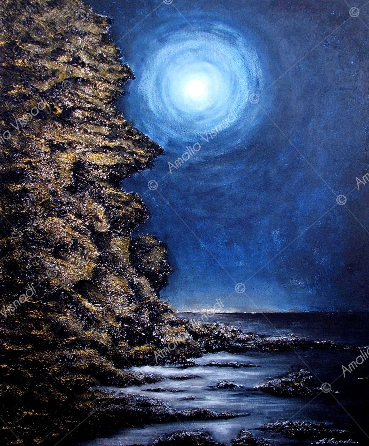 Romantica Luna_Acrilico, sabbie e foglia argento su Tela 50 x 60