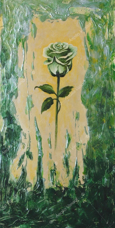Rosa verde_Acrilico e olio su tela 20 x 40