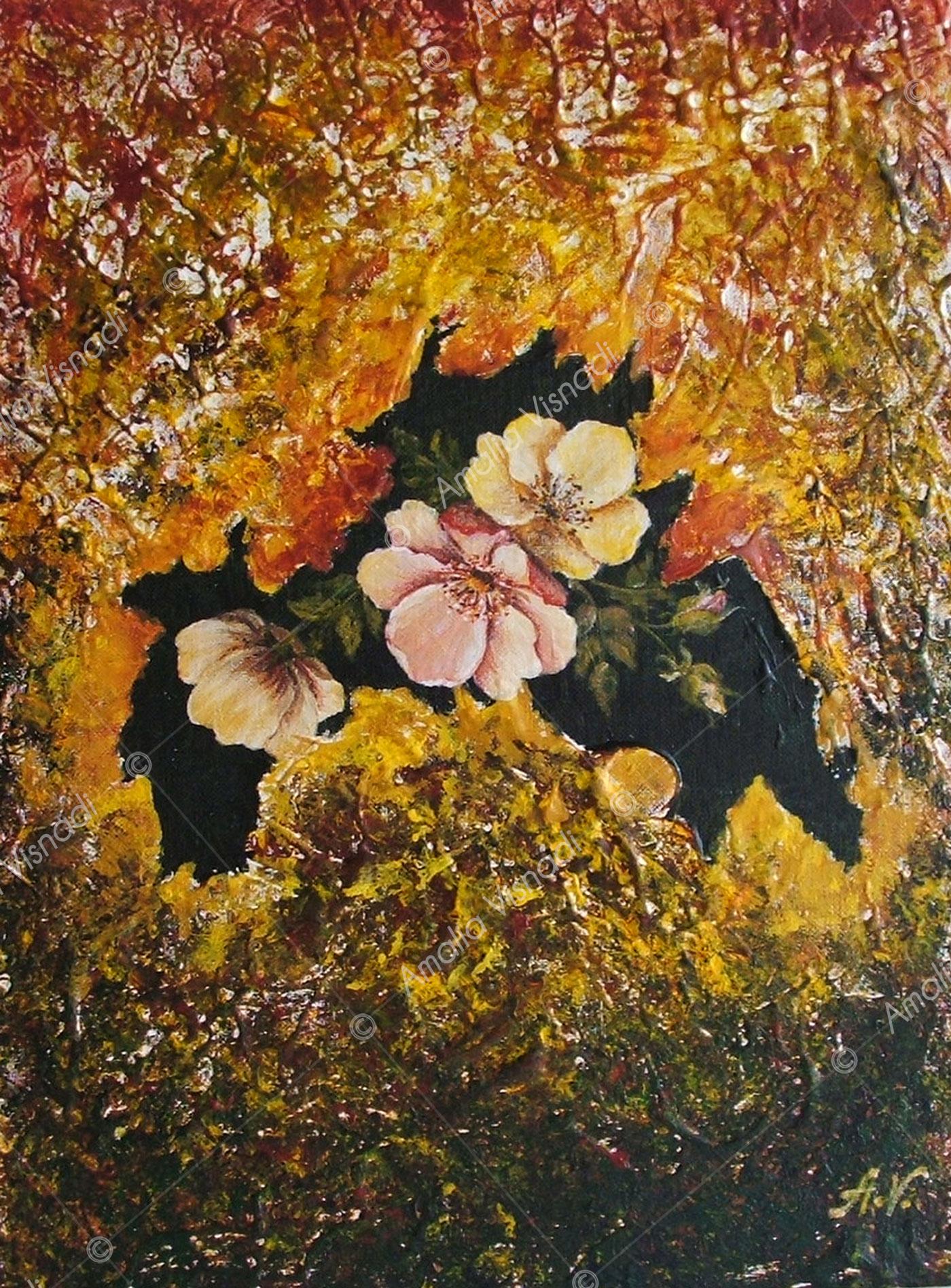 Roselline_Acrilico e olio su tela 35 x 45