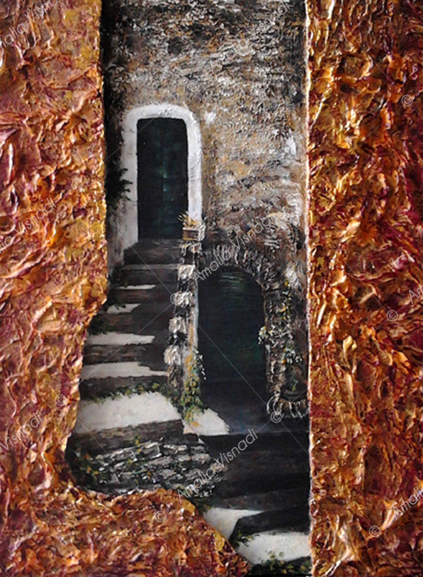 Scorcio di Cantalice 1 - Ri_Olio, acrilico e sughero su Tela 30 x 40