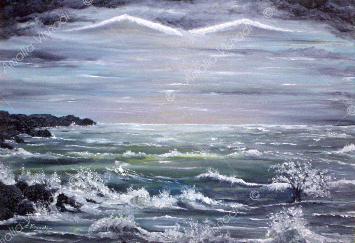 Siddharta nell'oceano_Olio su tela 40 x 50