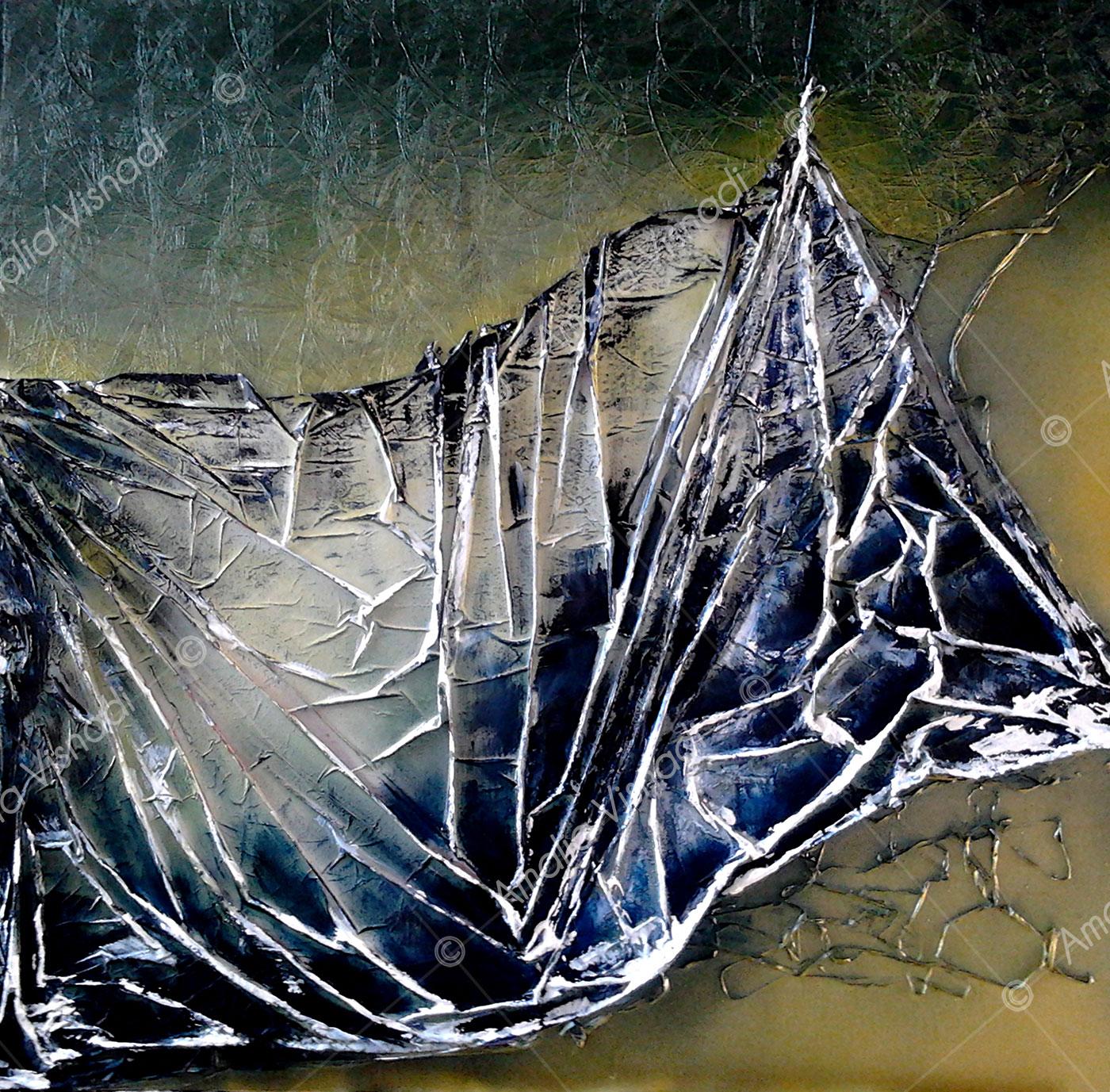 Sipario strappato_Tecnica mista su tela 70 x 70