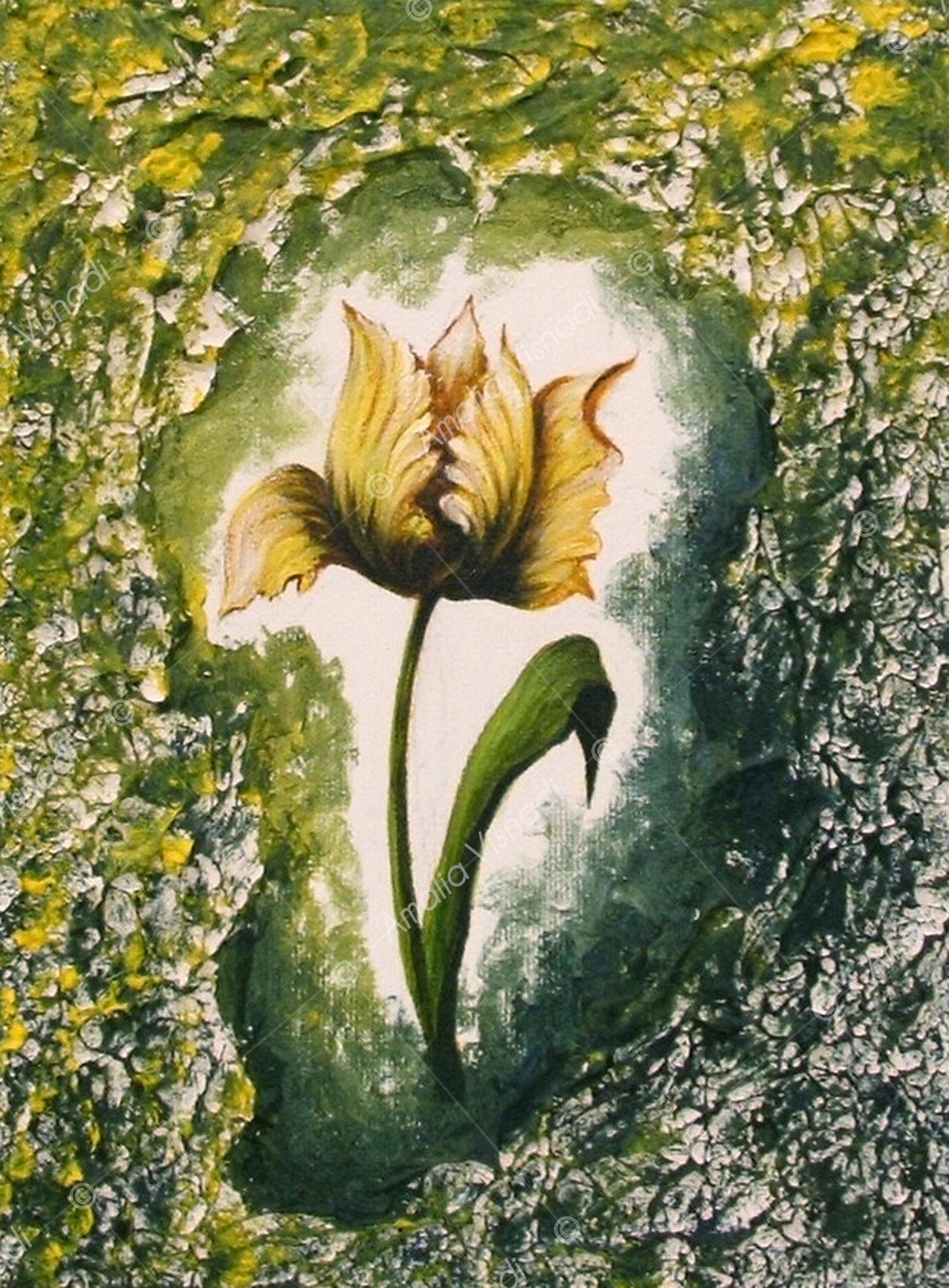 Tulipano_Acrilico e olio su tela 18 x 24