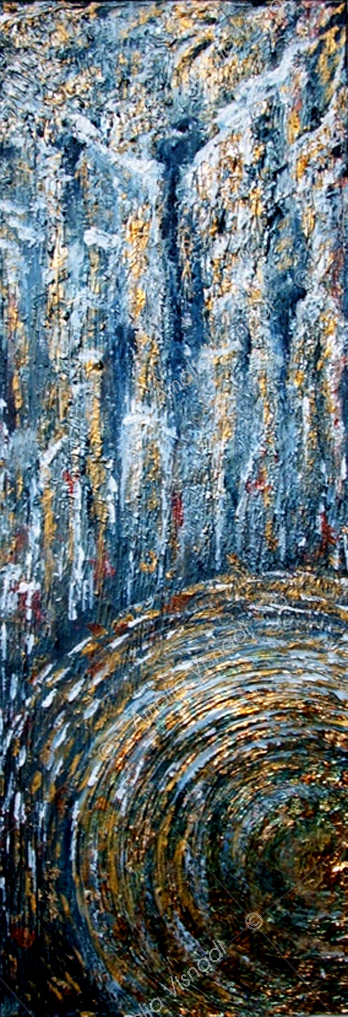 Vortice dorato_Acrilico foglia oro e rame su tela 20 x 60