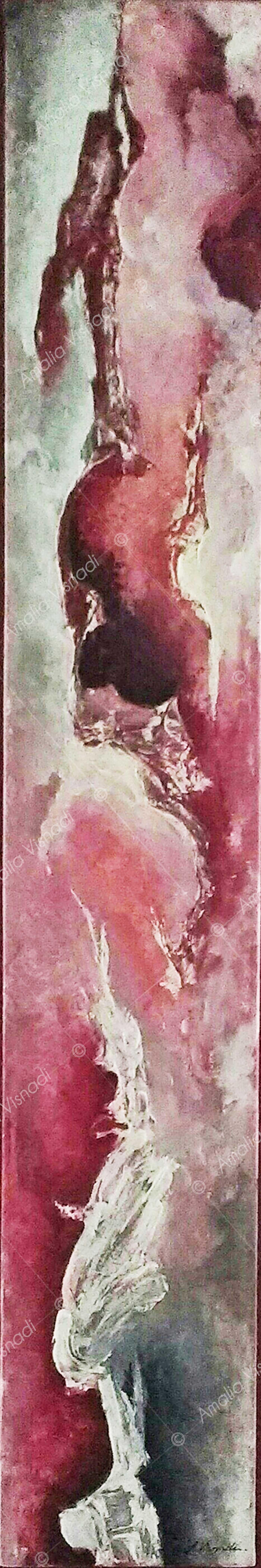 L'energia del cuore_Acrilico e olio su tela 20 x 120