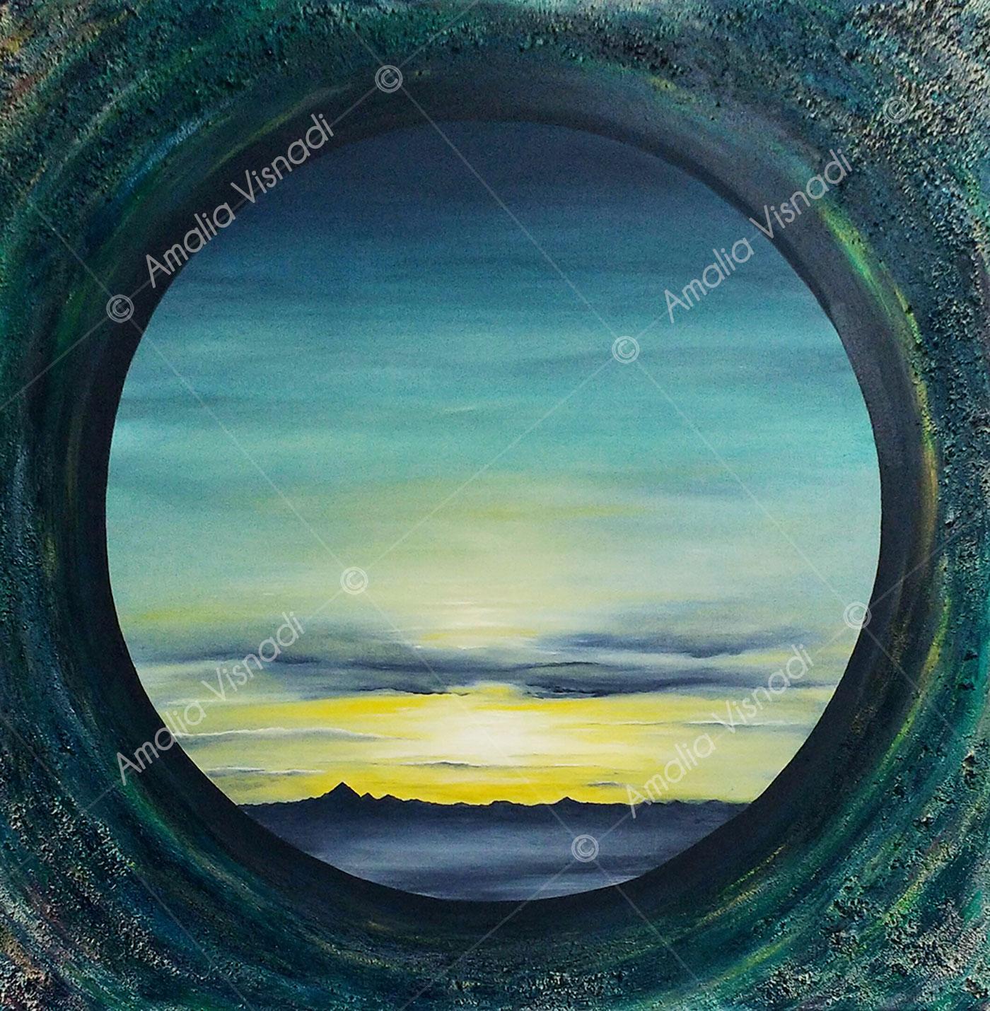 E guardo il mondo da un oblò_Olio e sabbie su tela 60x60