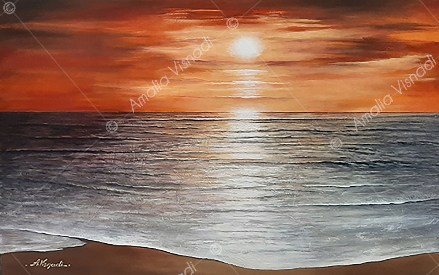 La magia del sole che entra nel mare_Dipinto ad olio su foglia d'oro e foglia d'argento tela 80x50