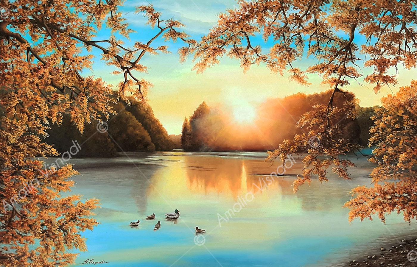 Sul lago dorato_Olio su tela 100x65